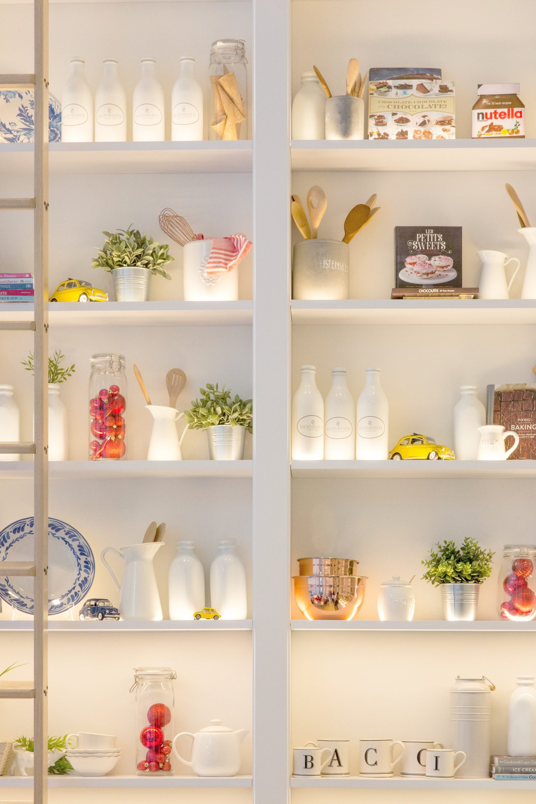 Organized shelf in a home.